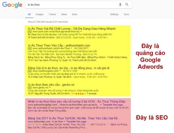 so sánh seo và quảng cáo google
